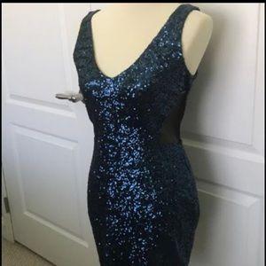 Bebe Dress Blue Sequins